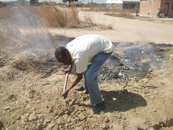 Joeseph Haakapya (69 years old!) digging the trench in swealtering heat